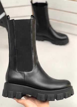 Ботинки женские резинка в стиле прада челси высокие