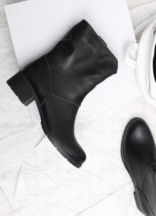 Кожаные демисезонные ботинки-трубы полусапоги с широким голенищем