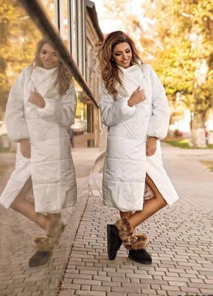 Стильное женское пальто трендовое стеганое с высоким воротником