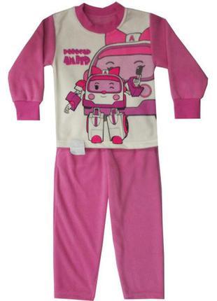 Костюм спортивный пижама для девочки флисовый зима робокары эмбер