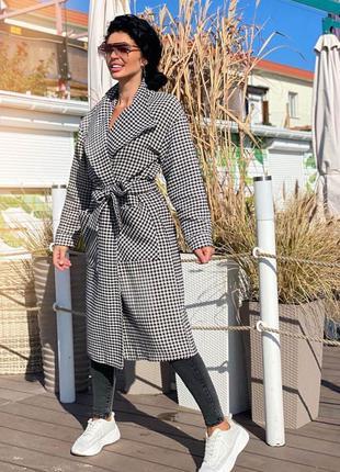 Пальто кашемировое стильный принт