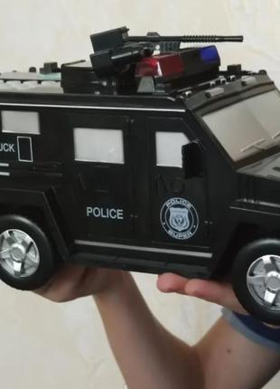Детский сейф с кодом и отпечатком пальца в виде полицейской машин
