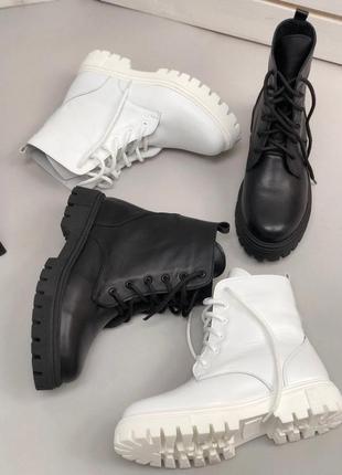 Ботинки деми зима 36-41р кожа берцы мартинсы на шнуровке