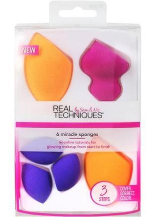 Real techniques 6 miracle sponges набор спонжей для макияжа