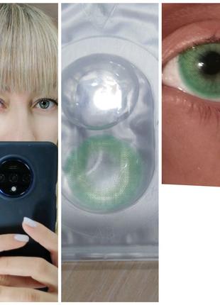 Зелёные линзы для глаз, контактные, линзы, цветные линзы
