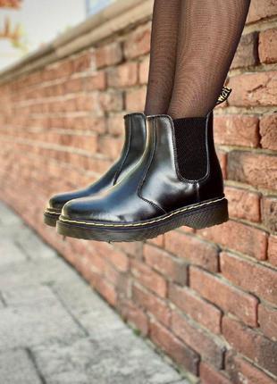 Ботинки dr. martens chelsea black черные / термо / без меха / ...