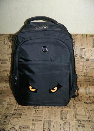 Рюкзак черный мужской спортивный с глазами новый