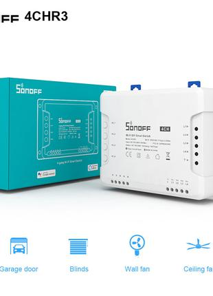 Sonoff 4CH R3 WiFi 16А 3500W AC 220V 4-х канальный модуль реле