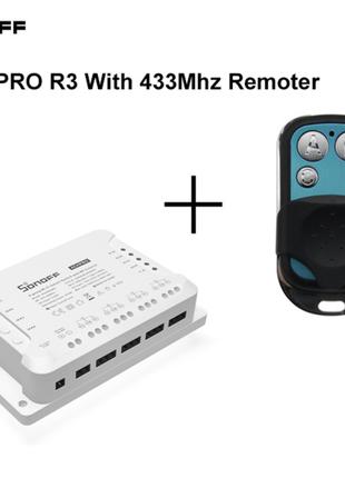 Sonoff 4CH PRO R3 WiFi RF 40А 8800W 220V DC 9-24V 4 канала пульт