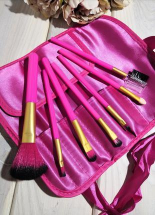 Кисти для макияжа набор 7 шт в чехле футляре rose red probeauty