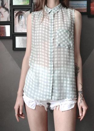 Легкая шифоновая блуза рубашка без рукавов в клетку