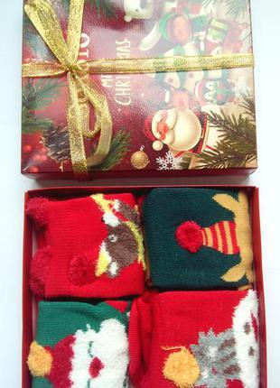 Носки детские новогодние в подарочной упаковке набор с 4 пар п...