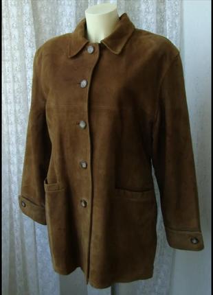 Куртка женская пальто нубук замша италия бренд mgb р.50 2370а