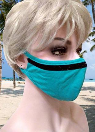 Бирюзовая маска с блестящей черной полоской, двухслойная эласт...