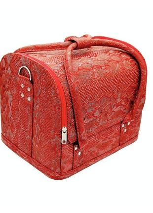 Чемодан кейс текстурный змеиный принт, сумка для мастера маникюра