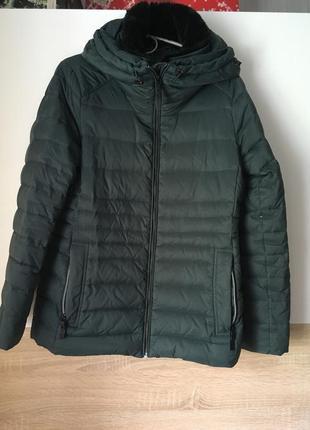 Красивая теплая изумрудная куртка, пуховик фирменный зимний es...