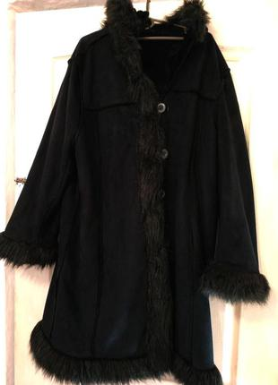 Дубленка, пальто женская искусственная черная с капюшоном. теплая