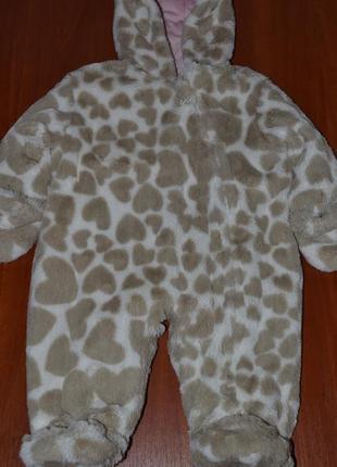 Плюшевый комбинезон теплый 6-9 месяцев