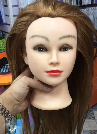 Голова манекен учебная, искуственные термо-волосы для плетения