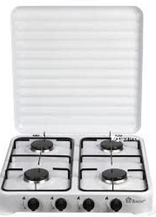 Плита газовая настольная Domotec MS 6604 на 4 конфорки, белая