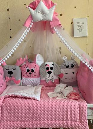 Бортики в кроватку,постельное белье для новорожденного,одеяло,...
