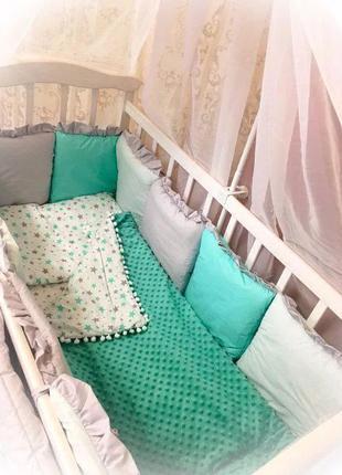 Детская постель для малышей, постель в кроватку, бортики в кро...