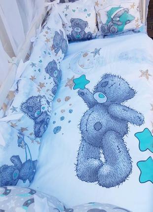 Бортики с рисунками для новорожденных, постельное белье в кров...