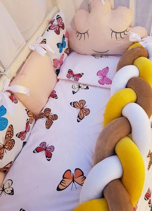 Бортики в кроватку,защита в кроватку,коса,полный комплект