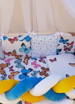 Бортики в кроватку для новорожденного,коса,одеяло,простынь,бал...