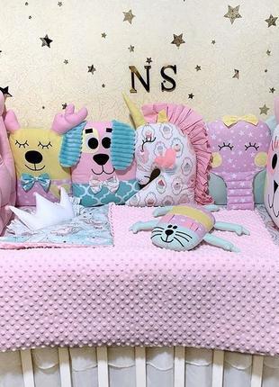 Бортики в кроватку, детское постельное белье, подушки звери, п...