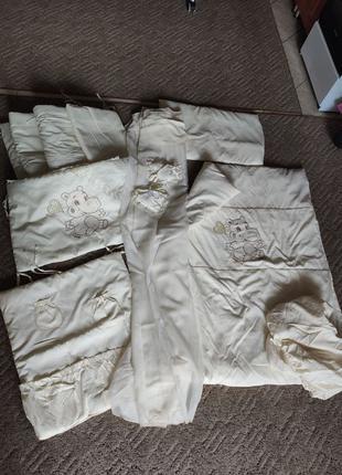 Комплект для детской кроватки балдахин одеяло подушка бортики ...