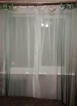 Нитевые шторы 2,5×1 м 2 шт оливка нитки гардины портьеры