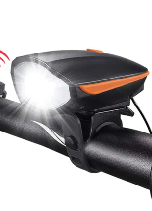 вело фара с сигналом USB аккумуляторная велофонарик
