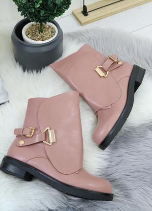 Розовые демисезонные ботинки на низком ходу, высокие ботинки н...