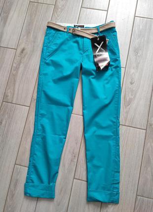 Летние голубые хлопковын брюки с поясом superdry