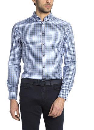 Мужская рубашка lc waikiki / лс вайкики белого цвета в сине-го...