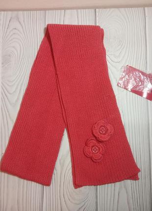 Детский коралловый вязаный шарф
