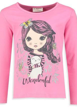 Реглан для девочки lc waikiki / лс вайкики розового цвета с де...