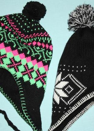Новые зимние с красивым рисунком шапки для мальчика и девочки
