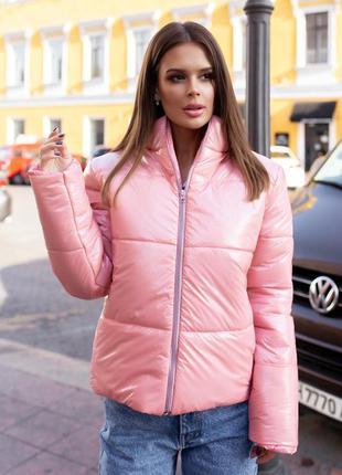 """Стильная куртка женская осень-зима """" moncler""""  розовая"""