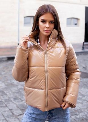 """Стильная куртка женская осень-зима """" moncler"""" бежевая"""