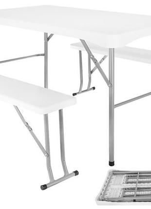 Комплект набор садовой мебели складной стол 113 см + 2 скамейки