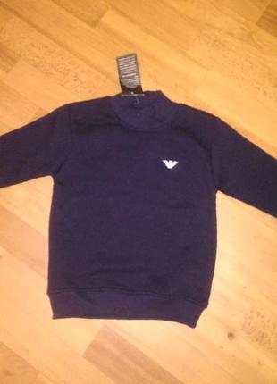 Теплый свитер 116,128 р. на мальчика с начесом турция, синий, ...