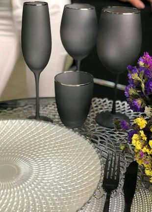 Матовые черные бокалы для вина шампанского стаканы праздничные