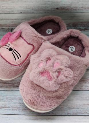 Детские меховые тапочки комнатные для дома домашние 30-35р.розовы
