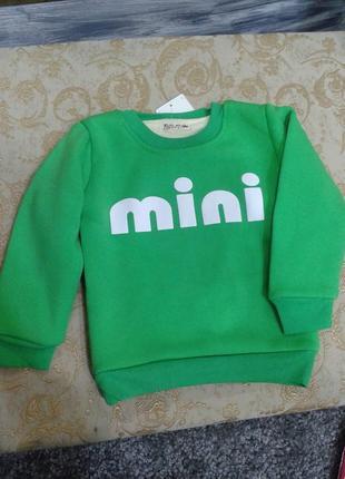 Теплый реглан на меху 2-5 лет на девочку mini, кофта, свитер, ...