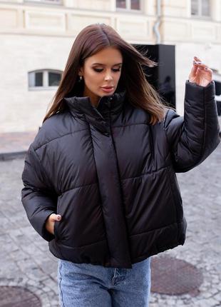 Стильная куртка осень-зима oversize женская черная