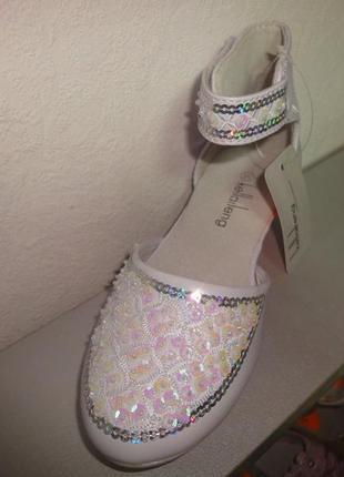 Нарядные туфли 29-35 р. на девочку белые праздник, выпуск, свя...