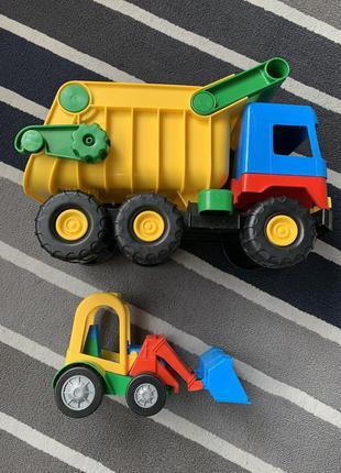 Набор большой грузовик Vader бульдозер самосвал Вадер машинка