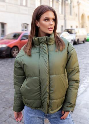 Стильная куртка осень-зима oversize женская цвет шоколад